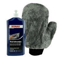 Wosk koloryzujący niebieski Sonax 500ml+ Rękawica z mikrofibry