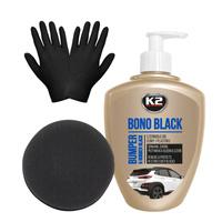 Zestaw: K2 Bono Black czernidło do gumy i plastiku 500ml + aplikator i rękawiczki