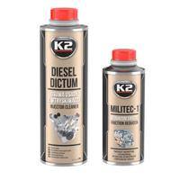 Zestaw dodatków do oleju i paliwa: K2 Militec-1+K2 Diesel Dictum czyszczenia wtryskiwacze diesla 500ml