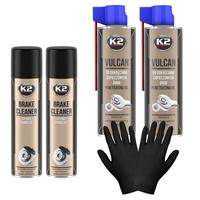 Zestaw warsztatowy: 2X K2 Brake Cleaner 600ml+2x K2 Vulcan 500ml+nitryle